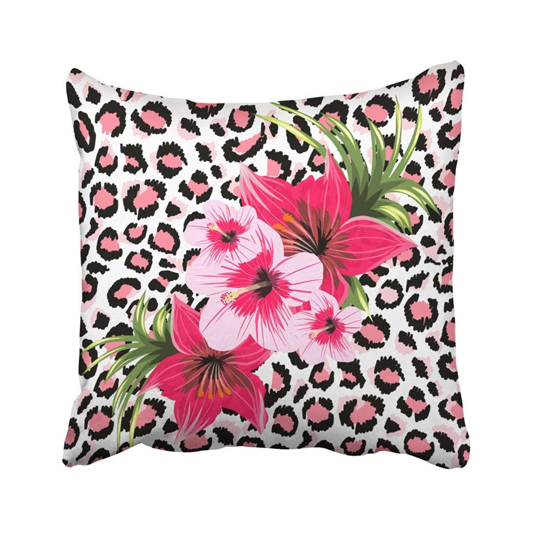 WOPOP Pink Animal Beautiful Tropical Flowers Bouquet On Leopard White Cat Hibiscus Panther Pillowcase Cover 16x16 inch