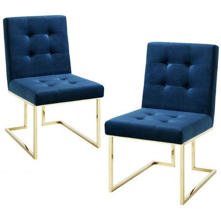 Evan Navy Blue Velvet Dining Chair - Set of 2 - Armless - Chrome Frame ()