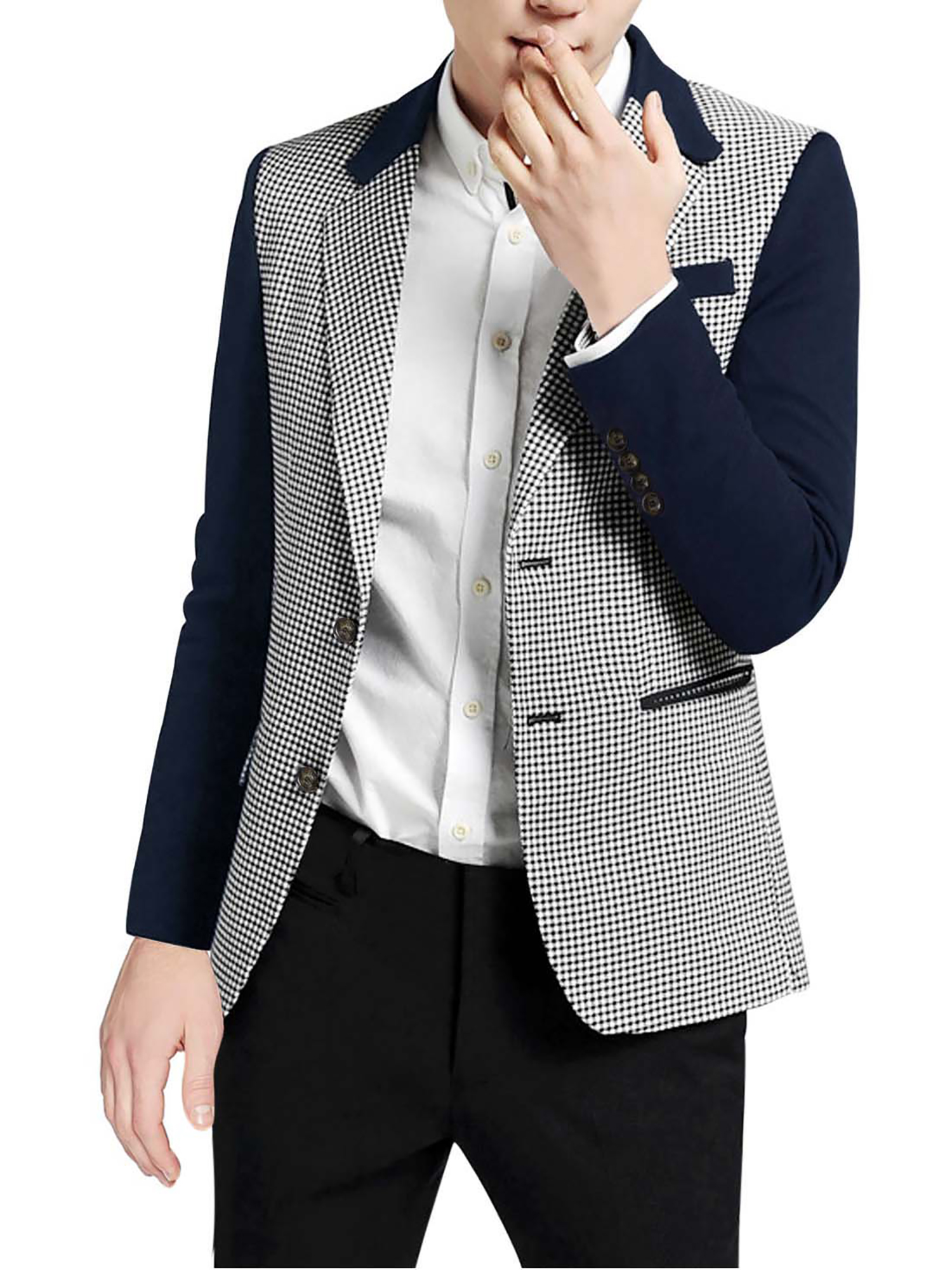 Azzuro Men's Swallow Gird Slit Side Casual Blazer Blue (Size S / 36)