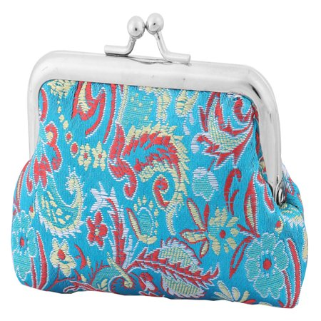 Ladies Women Polyester Coin Purse Jewelry Pouch Kisslock Case Wallet Colorful