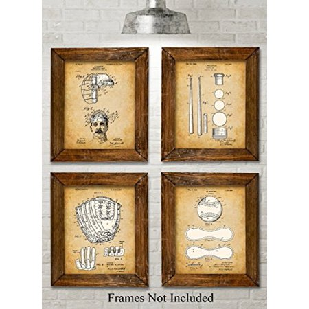 Original Baseball Patent Art Prints - Set of Four Photos (8x10) Unframed - Great Gift for Baseball Players or Boy