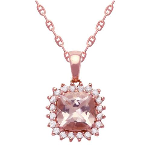 Beverly Hills Charm 10k Rose Gold 1 14ct. TDW Diamond and Morganite Halo Necklace (H-I, I2-I3) by Overstock
