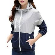SAYFUT Women's/Men's Lightweight Windbreaker Hooded Jacket Contrast Color Zipper Jacket Lover Coat Sports Outwear Quick Dry