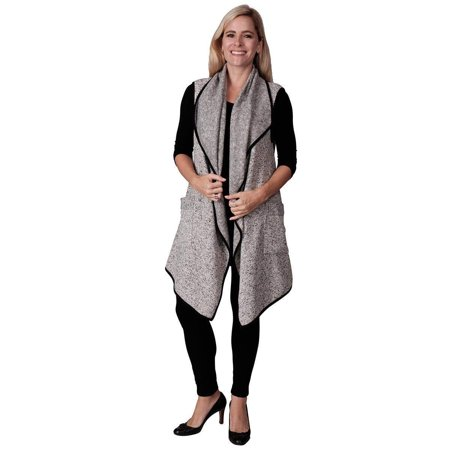 Le Moda Women's Sherpa Trimmed Fleece Vest Winter Collection One Size Fits All