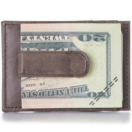 Alpine Swiss Mens Money Clip Thin Front Pocket Wallet Genuine Leather Card Case ()