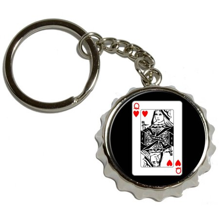 Playing Cards Queen of Hearts, Nickel Plated Metal Popcap Bottle Opener Keychain Key Ring](Queen Of Hearts Card)