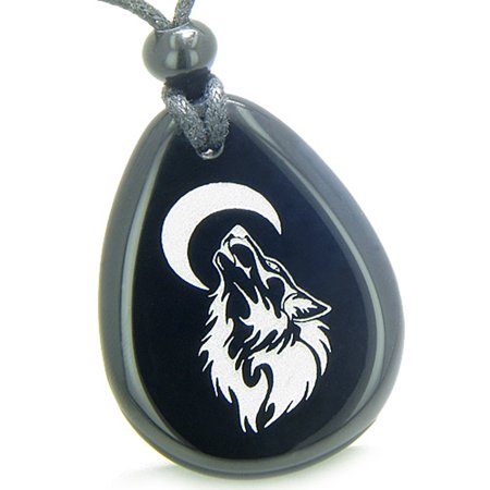 Amulet Brave and Protection Howling Wolf Moon Powers Black Agate Pendant Necklace Black Agate Oval Pendant