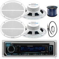 Kenwood KMRD372BT In-Dash Marine Boat Audio Bluetooth CD Player Receiver Bundle Combo With 4x 250 Watts 6X9-Inch 2-Way Marine White Coaxial Speakers + Radio Antenna + 16g 50FT Marine Speaker Wire