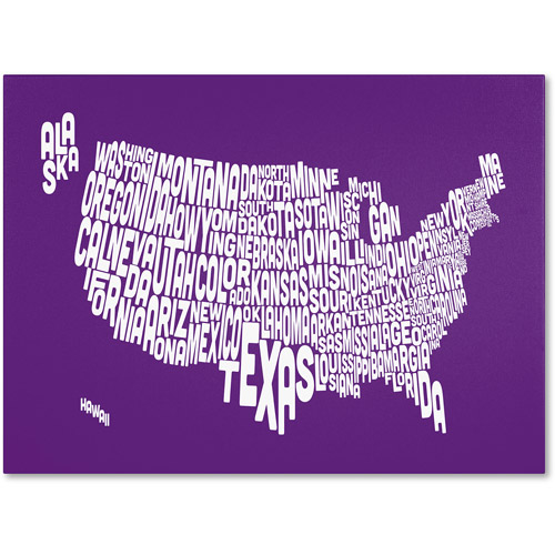 Trademark Art 'PURPLE-USA States Text Map' Canvas Art by Michael Tompsett