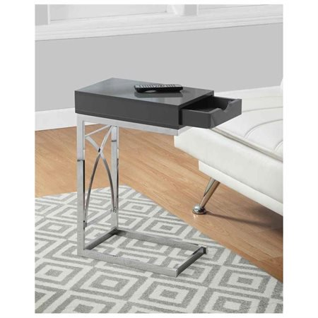 Monarch Accent Table Chrome Metal / Glossy Grey With A Drawer ()