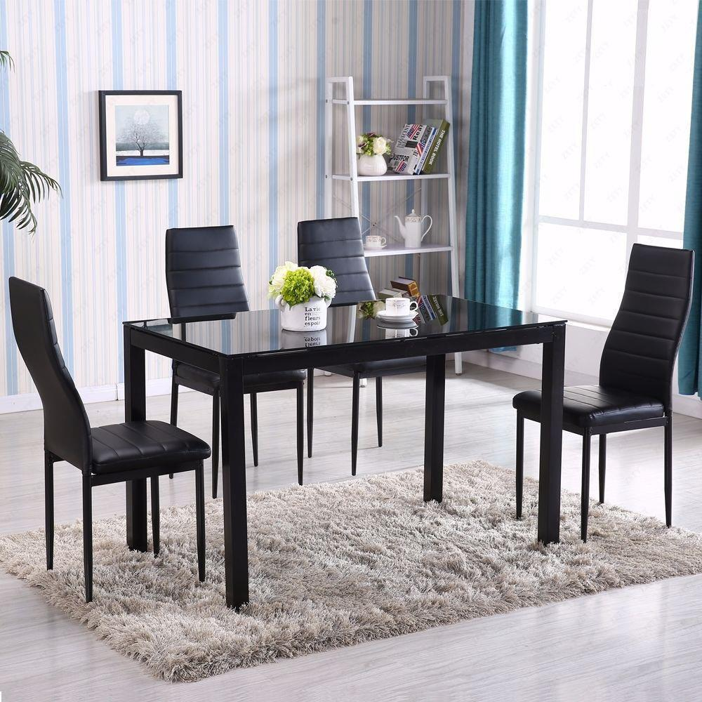 Ktaxon 5 Pieces Modern Glass Dining Table Set Leather With 4 Chairs,Black