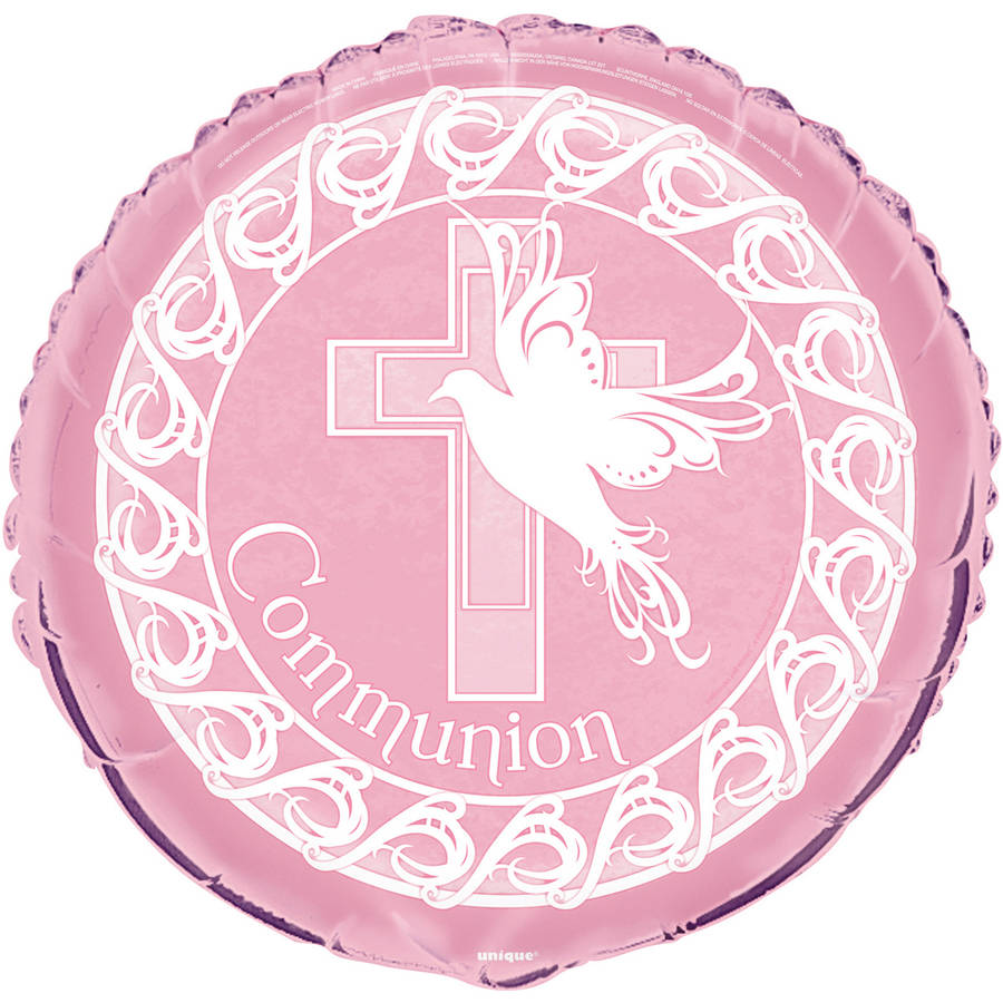 "18"" Foil Pink Dove Cross First Communion Balloon"