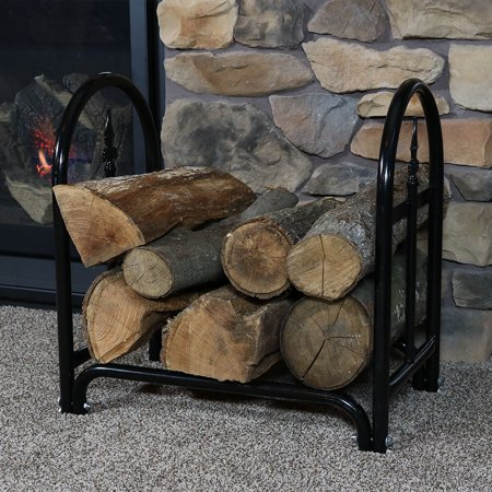 Sunnydaze 2-Foot Decorative Firewood Log Rack with Waterproof Cover COMBO, Indoor/Outdoor Wood Storage Holder, Black