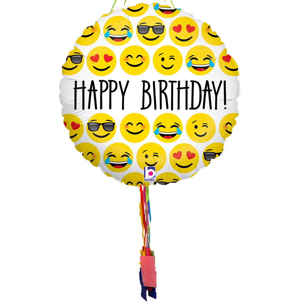 Birthday Emoji Pull String Pinata - Party Supplies