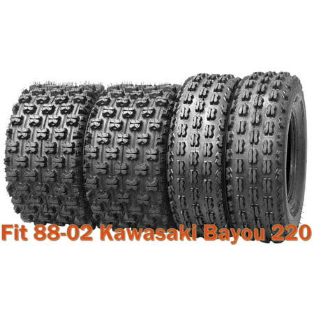Set of 4 Sport Racing ATV tires 21x8-9 & 22x10-10 for 88-02 Kawasaki Bayou 220 (Kawasaki Atv Racing)