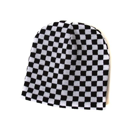 Black And White Checkered Hat (Cuffless Checkered Beanie - Black and)