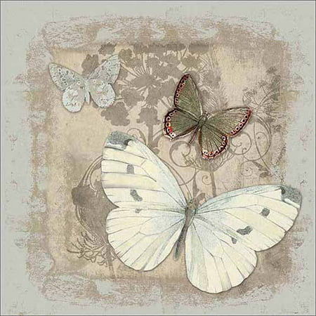 Vintage Botanical Butterfly Painting Grey & Tan Canvas Art by Pied Piper Creative