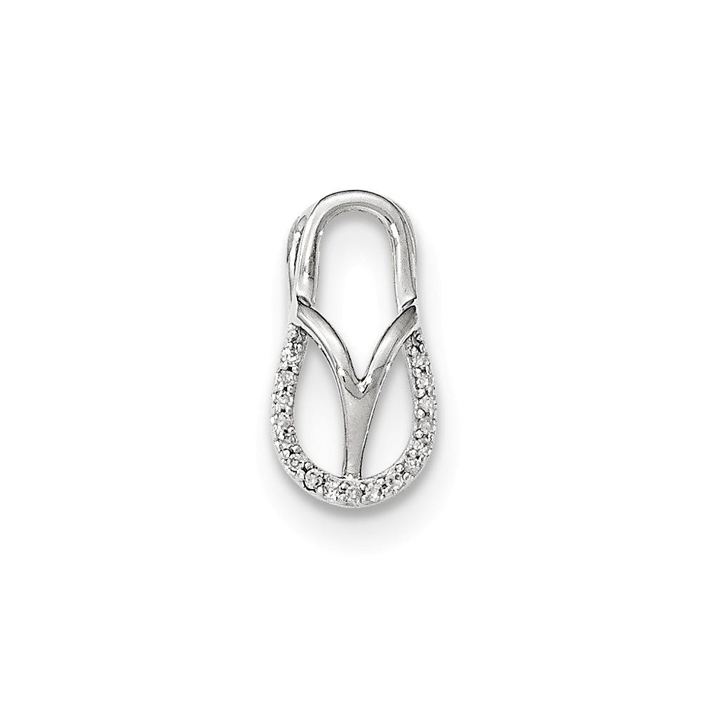 14k White Gold Diamond Sandle Pendant