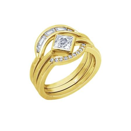Brass 3 Ring (Nicole Miller New York Yellow & Platinum Plated Brass CRESCENT THREE STACK RING )