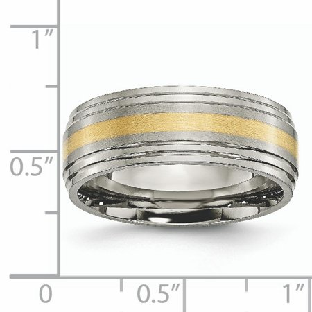 Bridal & Wedding Party Jewelry Engagement & Wedding Titanium 14k Yellow Inlay 8mm Brushed Wedding Ring Band Size 9.50 Precious