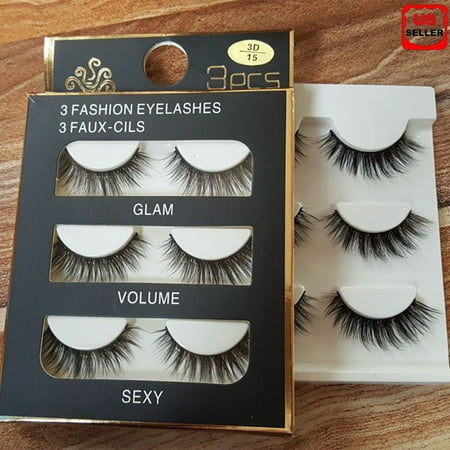 15 Pair Black Faux Mink Natural Cross Long Thick Eye Lashes False Eyelashes