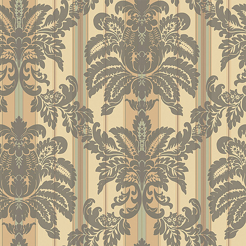 Blue Mountain Sueded Large Damask Wallcovering, Taupe