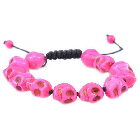 Fashion Jewelry Pink Turquoise gemstone skull macrame adjustable bracelet ()