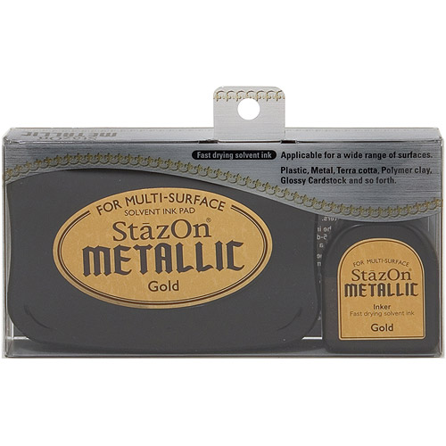 StazOn Solvent Ink Pad Large Metallic Gold