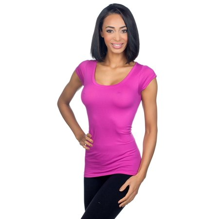 Cap Sleeve Tie - Sugarlips Women's Seamless Cap Sleeve Shirt