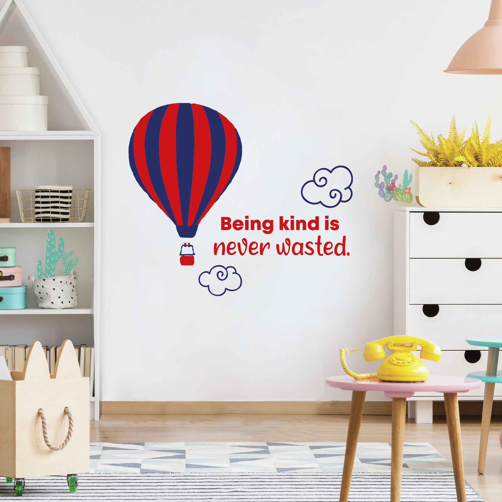 Being Kind Hot Air Balloon Quote Cartoon Quotes Decors Wall Sticker Art Design Decal For Girls Boys Kids Room Bedroom Nursery Kindergarten Home Decor Stickers Wall Art Vinyl Decoration 27x30 Inch