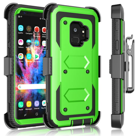 Galaxy S9 / S9 Plus Case, Samsung Galaxy S9 Holster Clip, Tekcoo [Tshell] Shock Absorbing [Grass Green] Secure Swivel Locking Belt Defender Heavy Full Body Kickstand Carrying Tank Armor Cases Cover ()