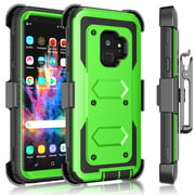 Galaxy S9 / S9 Plus Case, Samsung Galaxy S9 Holster Clip, Tekcoo [Tshell] Shock Absorbing [Grass Green] Secure Swivel Locking Belt Defender Heavy Full Body Kickstand Carrying Tank Armor Cases Cover