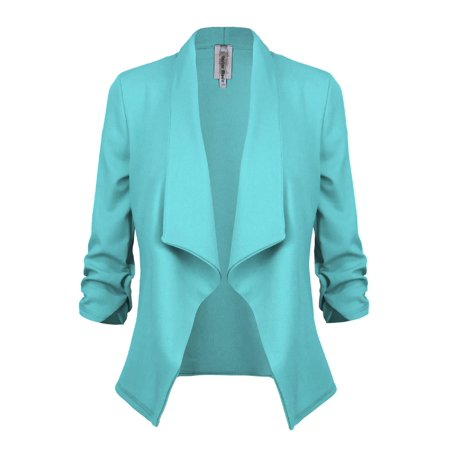 Made by Olivia Women's Classic 3/4 Sleeve Open Front Blazer Jacket [S-3X] -Made in USA Aqua 3XL - Flower Blazer