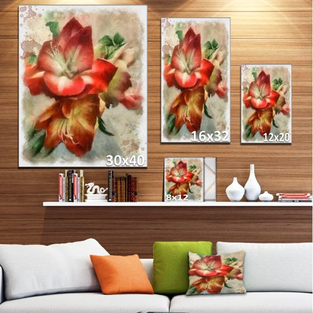 Bunch of Amaryllis Flowers Drawing - Floral Canvas Art Print - image 1 de 4