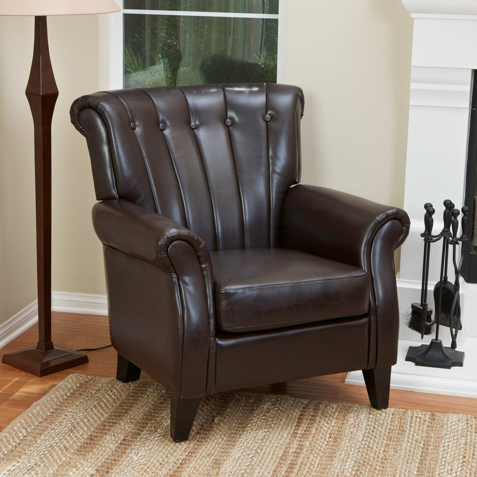 Clifford Channel Tufted Leather Club Chair - Brown