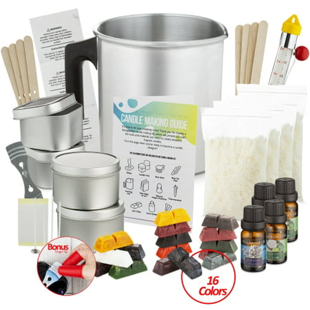 28 Piece Complete DIY Candle Making Kit Supplies for Adults and Kids, Soy Wax Flakes, Wicks, Pitcher, Fragrance Oil, 16 Color Dyes Candle Starter Kit Fragrance