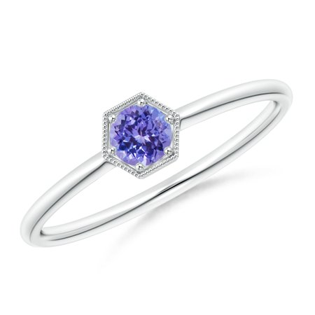 December Birthstone Ring - Pave Set Tanzanite Hexagon Solitaire Ring with Milgrain in Silver (3.8mm Tanzanite) - SR1869T-SL-AAA-3.8-6.5 Pave Tanzanite Ring