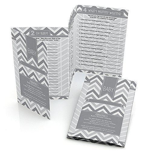 Chevron Gray - Baby Shower Games Pack - 5 Games in 1 - Fabulous 5 - Set of 12