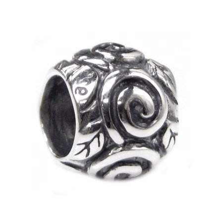 cb8d5d389b77f Queenberry Sterling Silver Love Rose European Style Bead Charm Fits Pandora