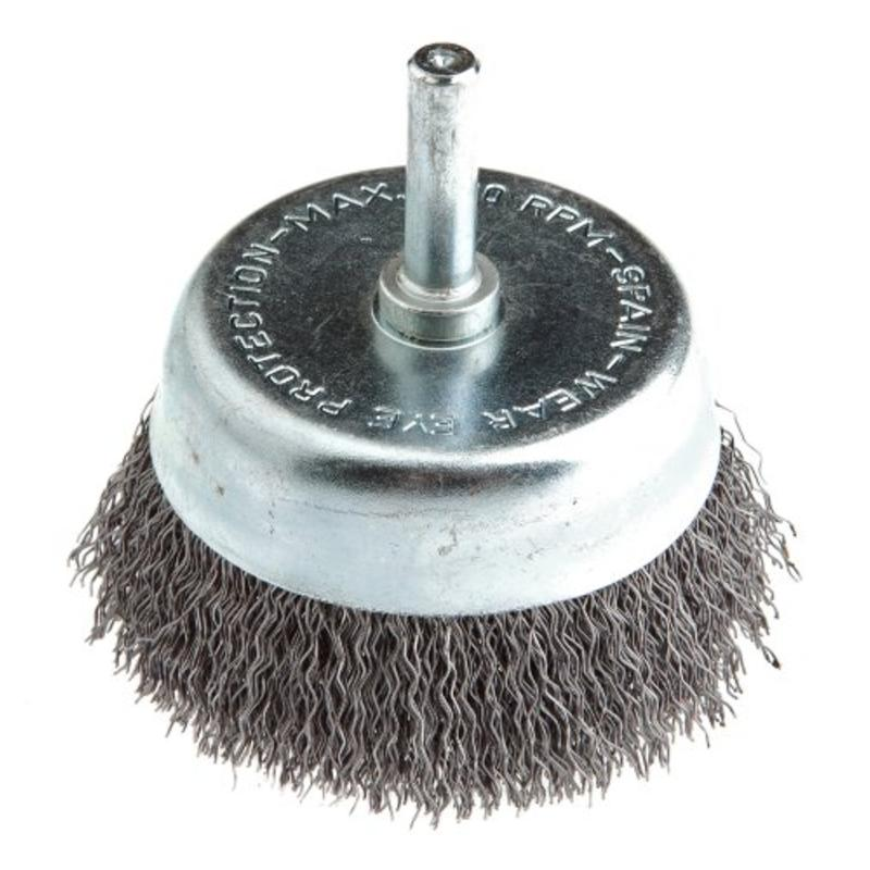 "2 1/2"" Coarse Crimped Wire w/1/4"" Shank Cup Brush Forney 60005 032277600058"