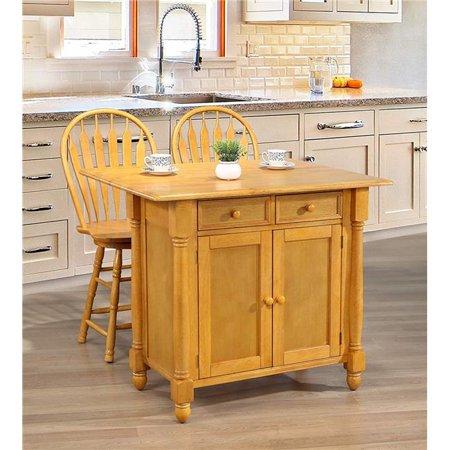 Sunset Trading DLU-KI-4222-B24-LO3PC Drop Leaf Kitchen Island Set with 2  Swivel Stools, Drawers & Storage - Light Oak, 3 Piece