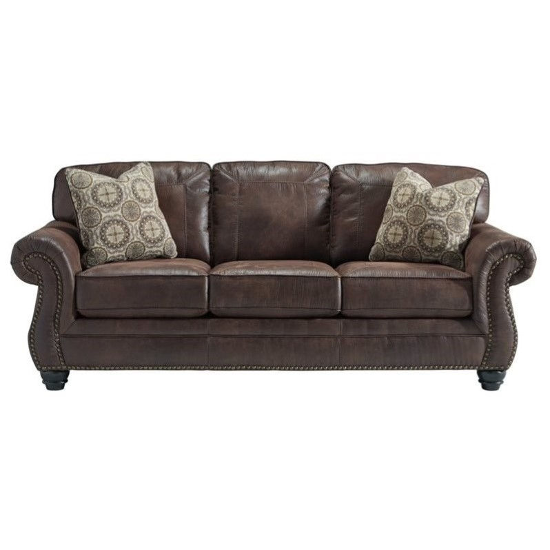 Ashley Breville Faux Leather Sofa In Espresso - Walmart.Com