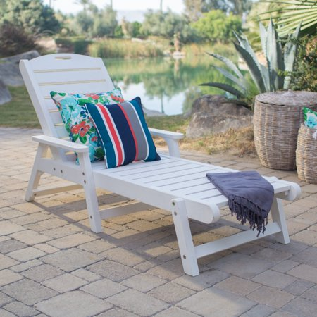 Belham Living Seacrest Cottage All Weather Resin Chaise Lounge Chair White
