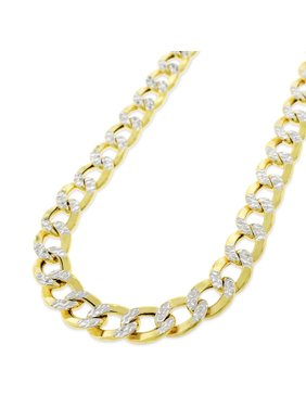 """10k Yellow Gold 8mm Hollow Cuban Curb Link Diamond Cut Two-Tone Pave Necklace Chain 24"""" - 30"""""""