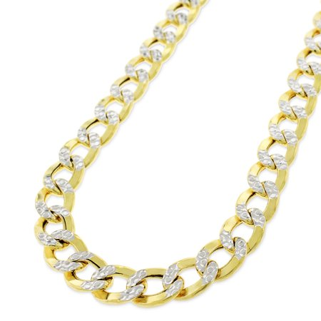 10k Yellow Gold 8mm Hollow Cuban Curb Link Diamond Cut Two-Tone Pave Necklace Chain 24