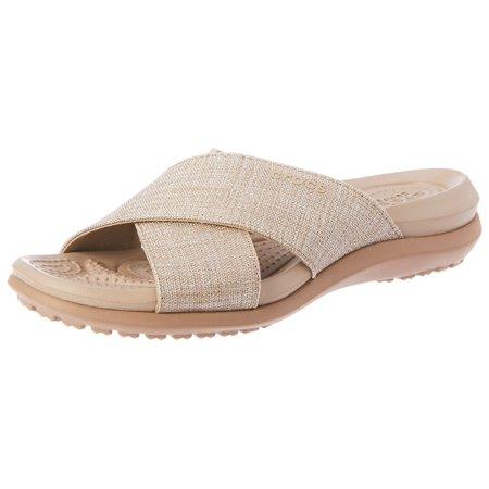 5449a8341e28 Crocs Women s Capri Shimmer Xband Sandal W Flat - image 2 ...