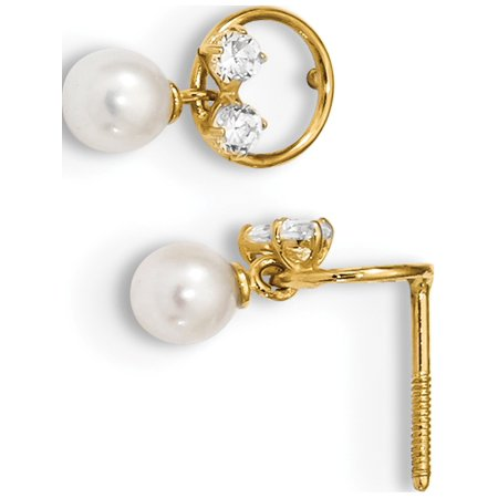 14k Yellow Gold Polished CZ & Freshwater Cultured Pearl Dangle Screwback Post (11mm) Earrings - image 2 of 2