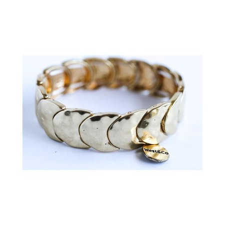 West And Co Womens And Co  Burnished Gold Crescent Stretch Bracelet   Br309bg