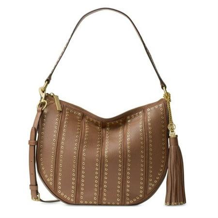 MICHAEL Michael Kors Suede Medium Dark Caramel Convertible Hobo Handbag Convertible Satchel Handbags