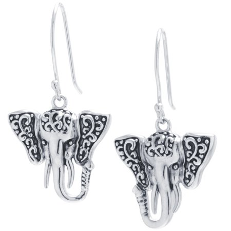 Sterling Silver Oxidized Artisan Elephant Wire Drop Earrings